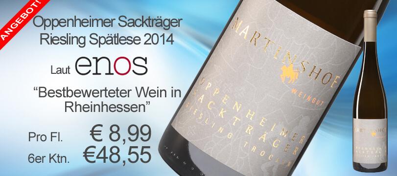Oppenheimer Sackträger Riesling Spätlese trocken 2014 vom Weingut Martinshof wurde als bestbewerteter Wein in Rheinhessen ausgezeichnet!