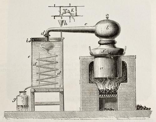 Eine Illustration einer alten Destillieranlage aus dem Jahr 1873